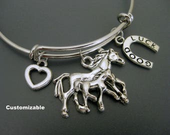 Horse Bracelet / Horse Bangle / Mare and Foal Bangle / Horseshoe Bangle / Horse Lover / Adjustable Bracelet / Expandable Bangle / Cowgirl