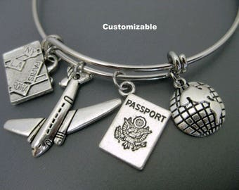 Airplane Charm Bracelet / Travel Bangle / Flight Attendant Jewelry