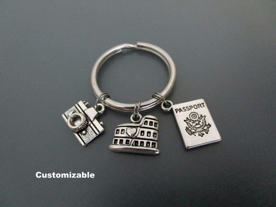 Silver Metal Charm Keychain Gift USA ITALY ITALIAN Tower Pisa Roman Coliseum