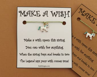 Green Unicorn Enamel Magical Wish Bracelet  Wish String Amulet BFF Friendship Bands Choice Card Color (code: 13)