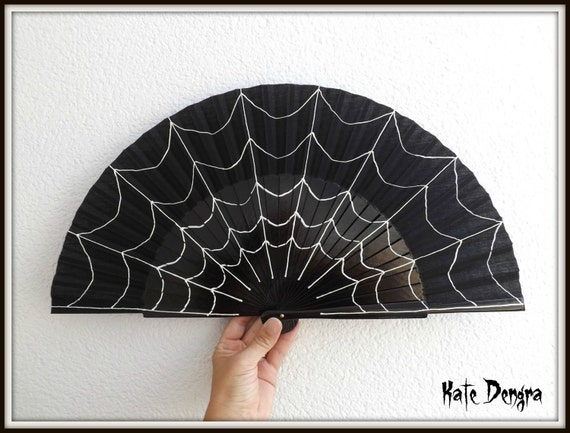 Spider Web Spiderweb Gothic Steampunk SIZE OPTIONS Hand Painted Wooden Folding Semi Pericon Hand Fan Black by Kate Dengra Spain