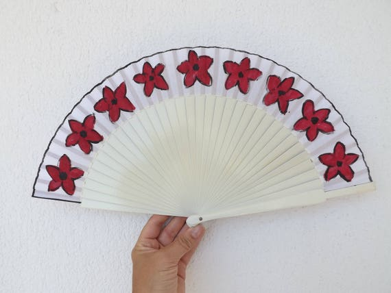 White Floral Hand Fan