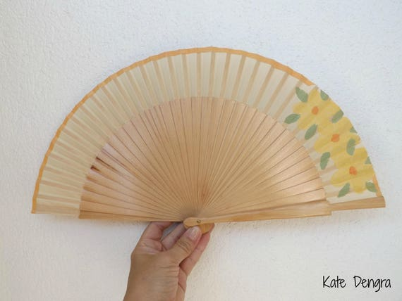 Natural with Peachy Lemon Flowers Hand Fan