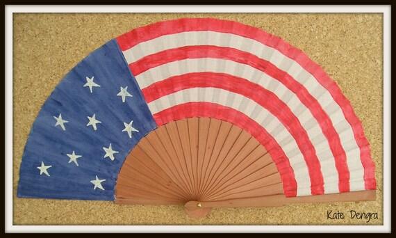 American Flag Hand Fan