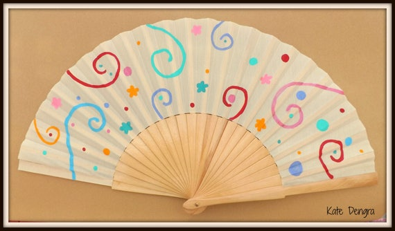 Party Bright Swirl Hand Fan READY to Ship