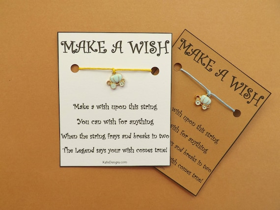 Fairytale Princess Carriage Stagecoach Coach Wish Bracelet by Kate Dengra Wish String BFF Friendship Bands Choice Card Color (code 19)