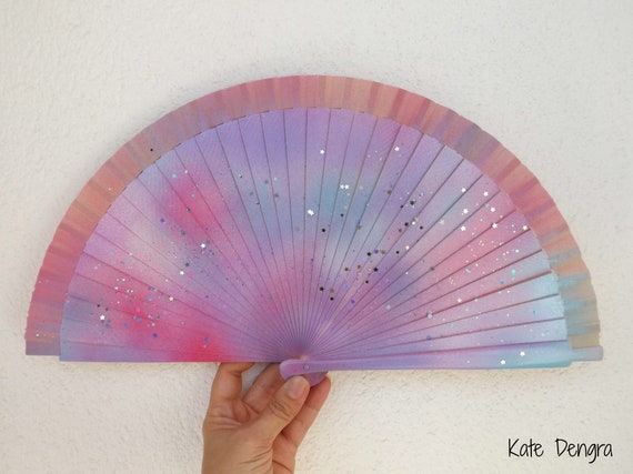 FANtasy Rainbow Unicorn Edition Hand Held Folding Fan From Spain by Kate Dengra Wood and Fabric
