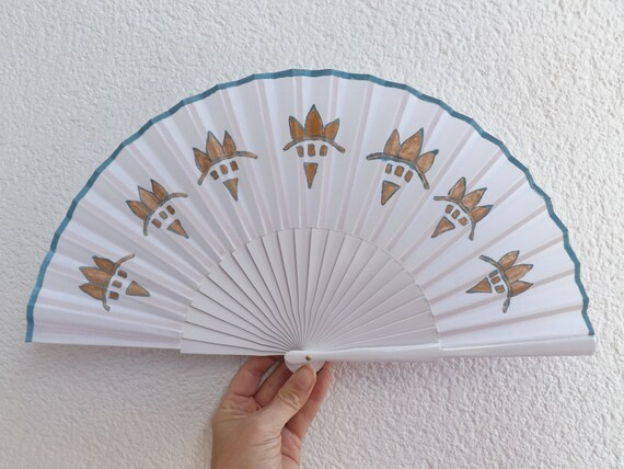 White Bronze and Blue Hand Painted Fan READY to SHIP
