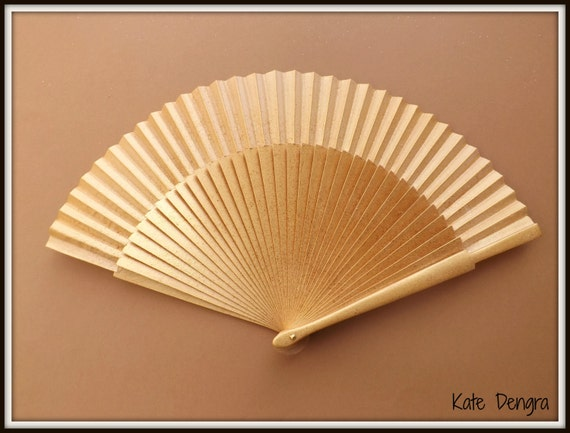 Gold Sparkle Glitter Christmas SIZE OPTIONS Festive Edition Hand Held Folding Fan From Spain by Kate Dengra MTO