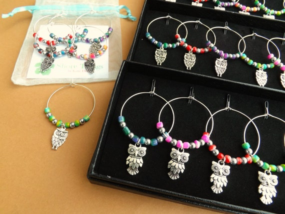 Wine Glass Charms Set of 6 Gift Boxed or in Gift Bag ANY CHARM