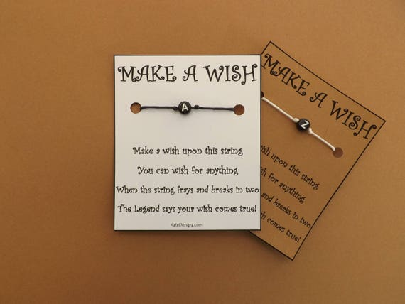 Simple Black Initial Wish Bracelet
