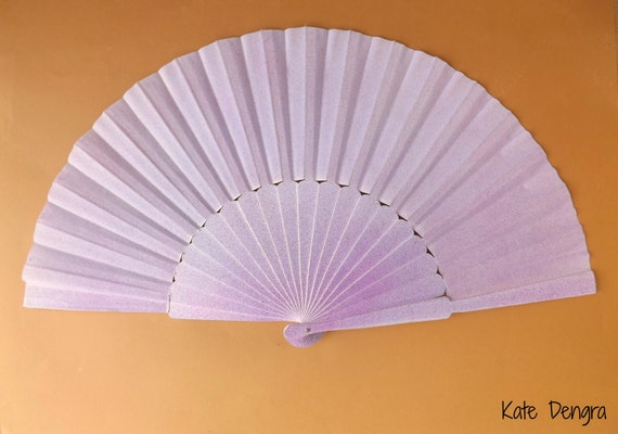 Purple Blue Silver Splash Supersize Pericon Hand Fan Wood Fabric Large Flamenco Handheld Fand From Spain by Kate Dengra