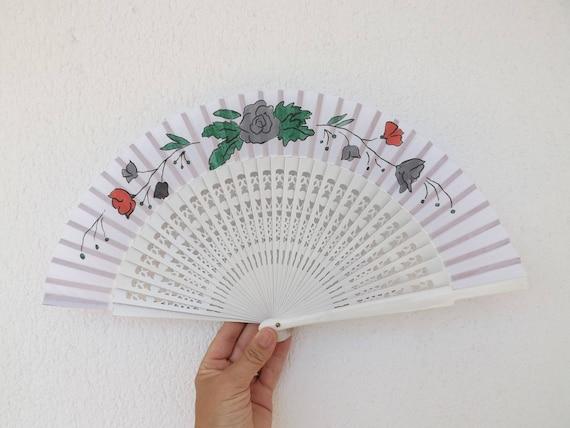 White Fret Floral Hand Fan