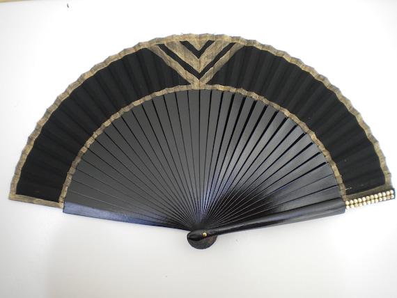 Black Gold Hand Fan Art Deco 24cm