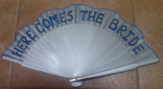 Flower Girl Silver Alternative Bouquet Here Comes the Bride Hand Held Wedding Fan Can Be Other Colors Just Ask