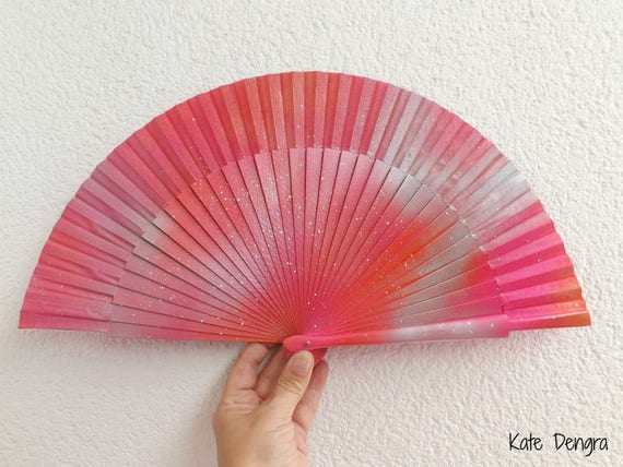 Pink Orange Silver Iridescent Scale Shimmer SIZE OPTIONS Handheld Wood Fabric Wooden Flamenco Fan by Kate Dengra Spain