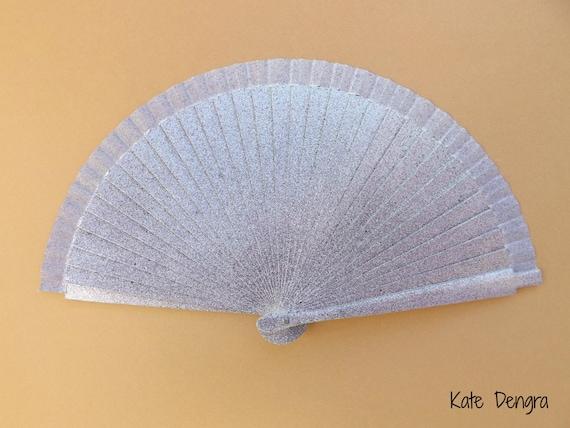 Purple Blue Silver Hand Fan