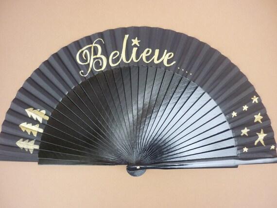 Christmas Hand Fan SIZE OPTIONS Folding Fancy Fashion Handheld Seasonal Festive Black and Gold Fan BELIEVE