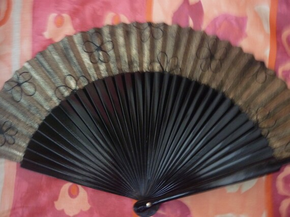 Black and Gold Wooden Hand Fan with Black Flowers SIZE OPTIONS Handheld Flamenco Fan by Kate Dengra Spain
