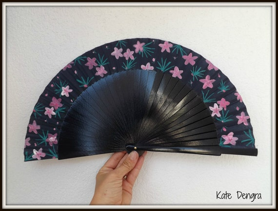 Tropical Palm Leaf Navy Pink Teal SIZE OPTIONS Floral Fabric Hand Fan Wood Folding Fan Handheld Fan MTO Made to Order