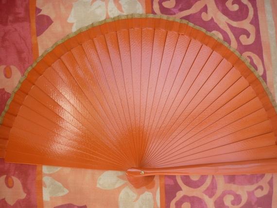 MTO HAND FAN Hand-held Folding Orange Gold Male Accessory Man Fan Spanish Flamenco Wooden Hand Held Fan