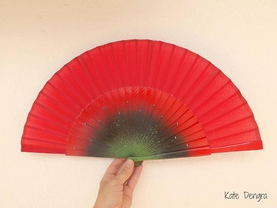Red Poppy Hand Fan Large