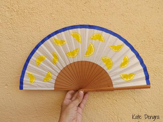 Italian Capri Sicilian Lemons Bright Fruit Hand Fan