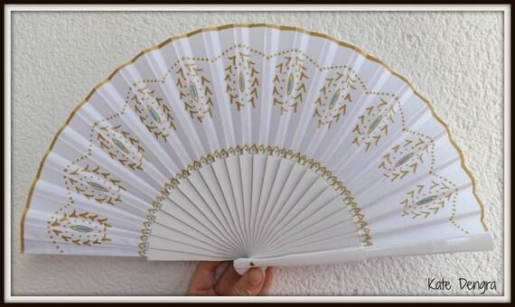Blue Gold Fancy Wedding Flamenco Painted Wooden Folding Hand Handheld Fan Ready to Ship