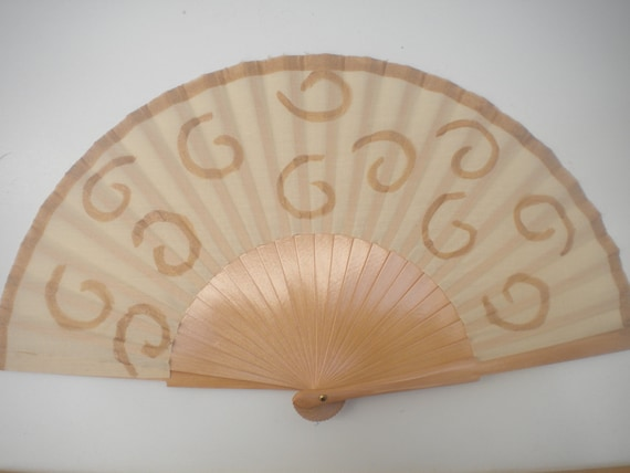 MTO Hand Fan Folding Fancy Fashion Fan Natural Color with Gold Design by Kate Dengra Spain