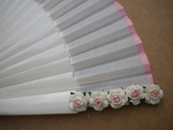 White Bridal 24cm Hand Fan SIZE OPTIONS with Mulberry Paper Flowers and Matching Border - Any Color MTO