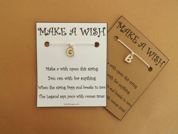 White Gold Enamel Initial Alphabet Wish Bracelet