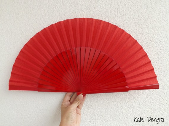 L RED Plain Wooden Hand Fan Ready To Customize