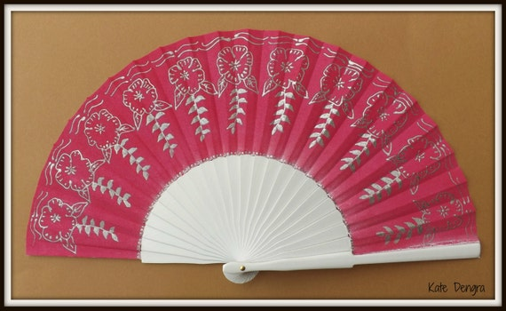 Ornate Pink and Silver Wooden Hand Fan Folding Wood Fabric Handheld Fan Hand Painted by Kate Dengra Made to Order