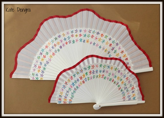 Ditsy Floral Scalloped White Scalloped SIZE OPTIONS Wooden Fabric Hand Handheld Flamenco Fan by Kate Dengra Spain