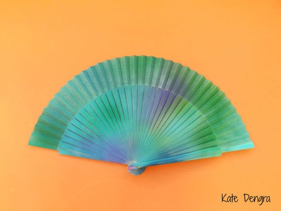 Ocean Inspired Sea Colors Aqua SIZE OPTIONS Hand Painted by Kate Dengra Spain Eventail Abanico Facher Wooden Hand Fan Flamenco Spanish