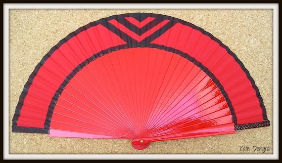 Red Art Deco Chevron Hand Fan