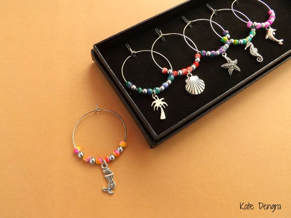 Sea Themed Mixed Color Beads Wine Glass Charms