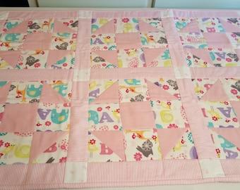 Handmade Pink flannel Baby Quilt - Animals and Alphabet