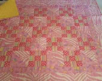 Handmade Baby Quilt in Pink Cotton