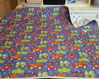 Trucks and cars handmade baby quilt