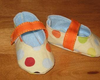 newborn unisex fabric baby shoes - big dots