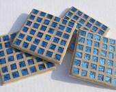 Coasters Blue Glass Mosaic Coasters  Blue Unisex Decor Housewarming Gift Barware Drinkware
