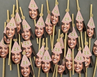 Rose Gold and Gold Face Straws, Personalized Face, Party Straws, Personalized Straws Picture, Rose Gold and Gold Straws