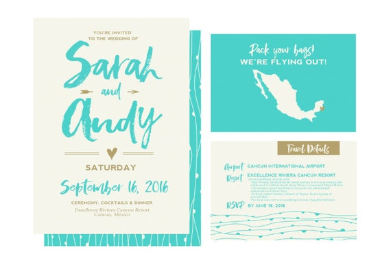 Printable Beach Wedding Invitations: Items Similar To Destination Wedding Invitations, Beach