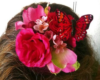 Pink flowers and butterfly fascinator, made to order, summer, wedding, races, ascot