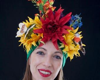 Sunflower Headdress, Mardi Gras headpiece, Tropical Carmen Miranda turban, Festival hat, Carnival headwear, Yellow burlesque headdress