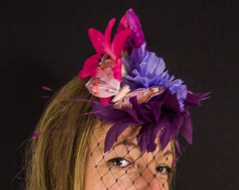 Floral wedding butterfly fascinator, pink and purple races hat, bright summery hair accessory, festival hat, ladies day, ascot, tropical
