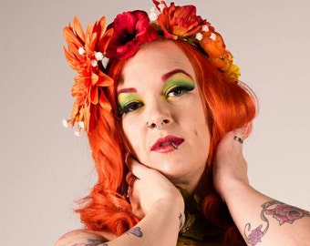 Autumn flower crown. Orange boho floral headpiece. Autumnal Bridal headwear. Festival hippy flower crown. Prom hair accessories.