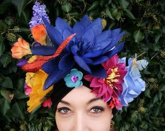 Mardi Gras floral headdress, Carmen Miranda turban, rainbow flower crown, burlesque headdress, dance costume, flower crown, fancy dress