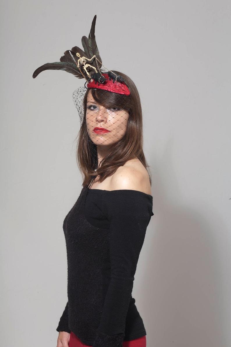 e0b695248 Death fancy dress, Skeleton hat, Halloween Fascinator, Black death plague  fancy dress costume headpiece, Gothic headwear, Spooky hat.